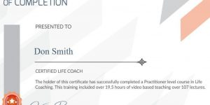 Certification example - certified life coach