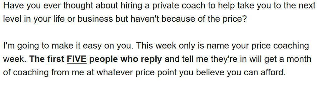 Coaching Offer
