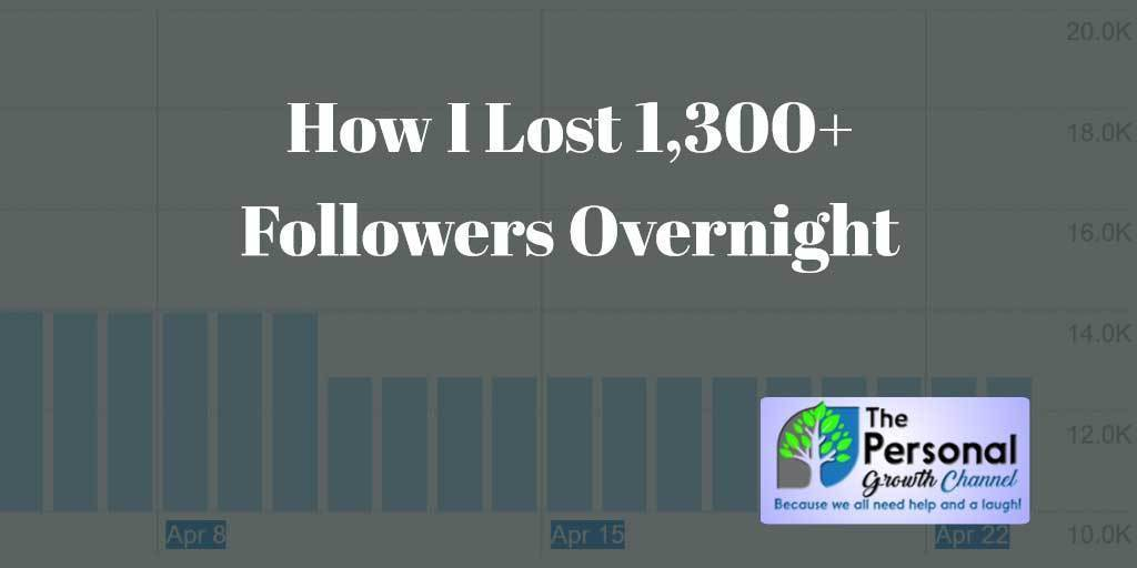 How I Lost 1,300 Followers Overnight - Graph Showing Drop
