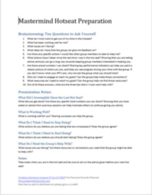 Mastermind Word Hot Seat Preparation Template
