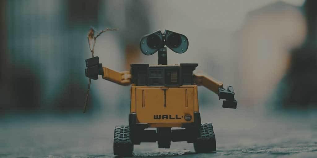 Robot carrying dead flower