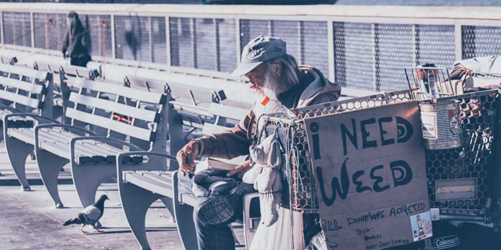 Coaching a homeless man - man holding a sign saying I need weed