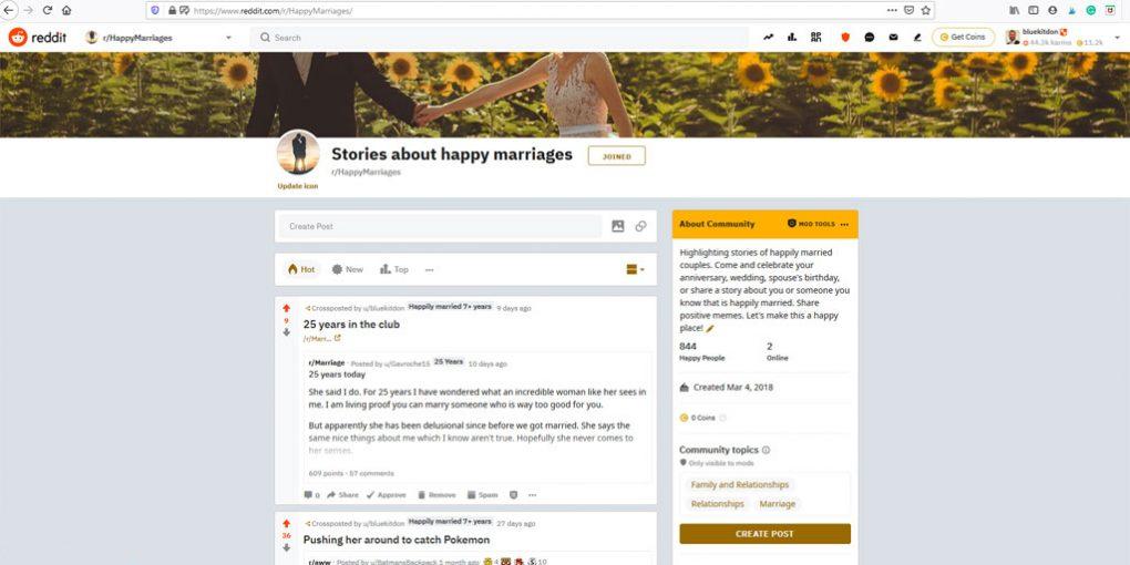 Reddit Happy Marriages Forum