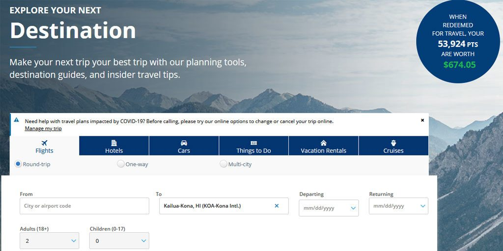Scheduling a free flight to Hawaii - Chase Sapphire Travel Rewards