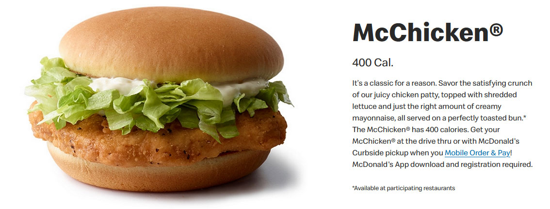 Example 400 calorie meal on the run - a McChicken from McDonald's is 400 calories